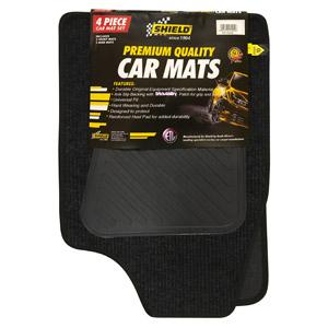 Universal Standard Coal Ribbed Mat with Vinyl Heelpad & Black Binding – 4 Piece