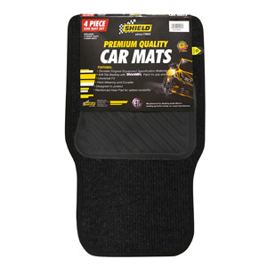 Universal Promo Ribbed Coal Mat with Vinyl Heelpad & Black Binding – 4 Piece
